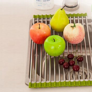New 1 Pcs Green Hot Pink Sink Storage Dish Drying Rack Holder Fruit Vegetable Drainer Colanders Kitchen Accessories & BL11