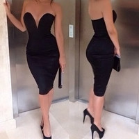 Black V-Neck Backless Midi Dress
