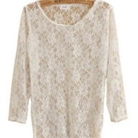 Women New Style White Sexy 3/4 Sleeve Hollow Lace Tops One Size@WH0095w $8.99 only in eFexcity.com.