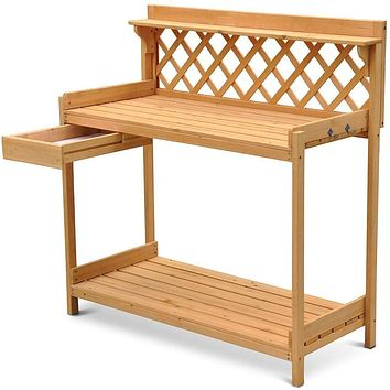 Solid Wood Potting Bench Garden Planting Table with Side Drawer