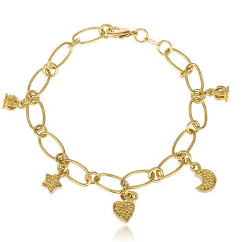 Gold Overlay Multi Royal Charm 8Inch Cable Bracelet