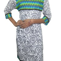 Indian Tunic Dress Cotton Printed Long Kurti Tunics Boho Kurta Tops