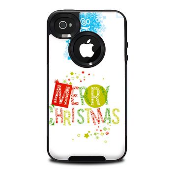 The Green and Red Merry Christmas Skin for the iPhone 4-4s OtterBox Commuter Case