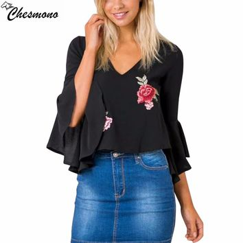 chesmono embroidery deep v neck blouse shirt Elegant flare sleeve chiffon blouse blusas Sexy black loose summer blouse women top