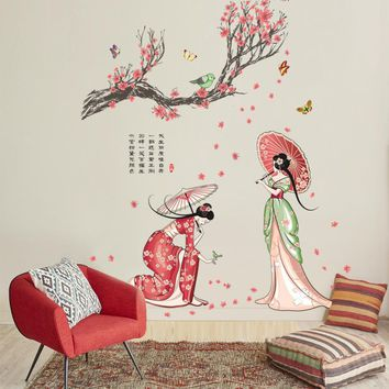 china ancient beauty wall stickers Tang Dynasty style decor Chinese clothing dress women wallpaper murals