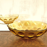 Vintage Chip and Dip Set, Amber Glass Bowl, Hazelware Glass, El Dorado Pattern