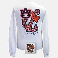 Auburn Tigers War Eagle Anchor Bow Chevron White Bright Long Sleeve T Shirt