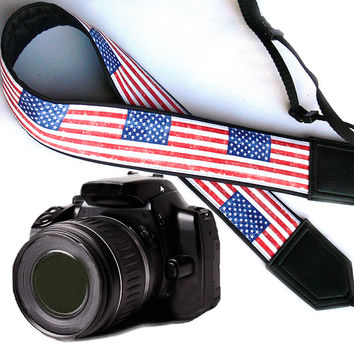 Original design Camera Strap. US flag Camera Strap. DSLR / SLR Camera Strap.  For Sony, canon, nikon, panasonic, fuji and other cameras.