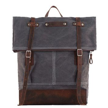 Waxed Canvas School Backpack with Leather Trim