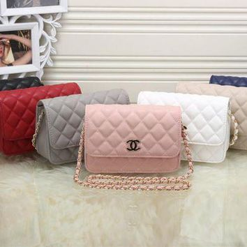 LMFON Chanel' Women All-match Simple Fashion Quilted Metal Chain Single Shoulder Messenger Bag Flip Small Square Bag