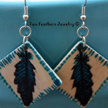Turquoise Feathers - Hand Painted Earrings - Original Art - Hand Drawn Feathers - Wooden Earrings - Gift For Her - Lightweight Earrings