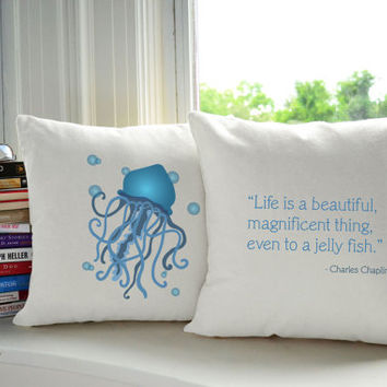 Set of 2 Nautical Jellyfish Cotton throw Pillows - Covers and or Cushions, 14x14 or 16x16, White or Natural Canvas