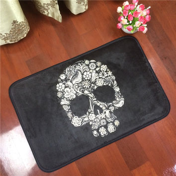 Skull fashion carpet decorative pattern rectangle bathroom water wash slip-resistant mats househol doormat bathroom pad rug