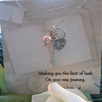 Graduation Gift, Lock and Key Necklace, New Job, Congratulations Gift, Silver Key Necklace, Gift for Best Friends,Pearl Necklace,