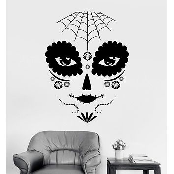 Vinyl Wall Decal Day of the Dead Gothic Girl Mask Stickers Unique Gift (ig3741)