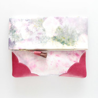 KELLY 19  / Dyed cotton & Natural leather folded clutch bag - Ready to Ship