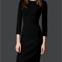 New Womens Stylish OL Long Sleeve Slim Elegant Solid Business BLD Dress