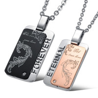 His And Hers Dog tag Pendant Titanium Steel Couple Necklaces For Lovers = 1929991428