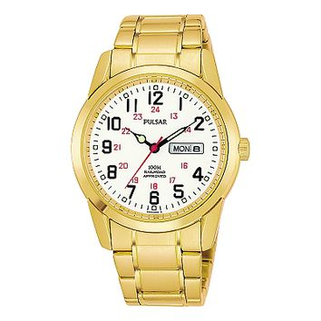 Pulsar Men's Gold Plated Railroad Approved Dress Watch PJ6046
