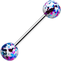 316L Steel White Pink Blue Enamel Metallic Splash Barbell Tongue Ring | Body Candy Body Jewelry