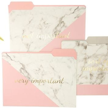 Pink Marble File Folder Set, Fashion Pen, and Magnetic Notepad Gift Set