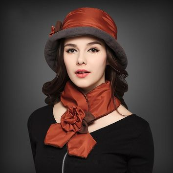 New Arrival Autumn Winter Plus Velvet Quilted Snow Warm Hat Scarf Set Brown Pink Wine Black Fashion Lady Hats Scarf Sets