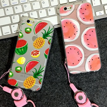 Fruits iPhone 5s 6 6s Plus creative case + Rope
