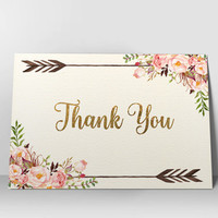 Floral Thank You Card Printable Thank You Card Boho Chic Thank You Bohemian Wedding Card Digital Thank You card Instant Digital Download