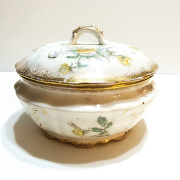 Antique Covered Dish, Knowles, Thompson & Knowles, Small, Roses, Gold, Jewelry Dish, late 1800s