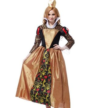 Cool red queen alice and wonderland costume adult red queen's dress cosplay Party Fancy Dress halloween costumes for women plus sizeAT_93_12