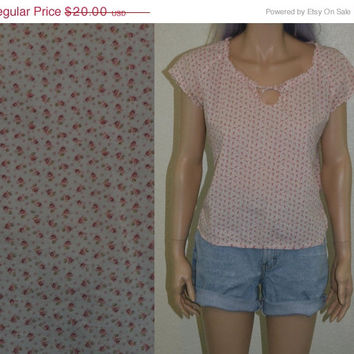 40% OFF 90s cropped peasant top floral shirt crop soft gypsy grunge hipster boho hippie festival blouse flowy cotton 60s 70s