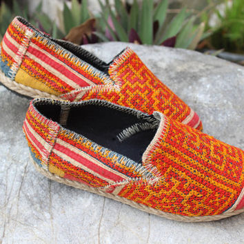 Childrens Vegan Shoes in Ethnic Hmong Embroidery Kids Loafers