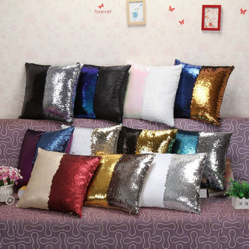 Mermaid Sequin Pillow Magical Color