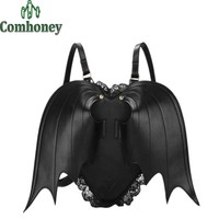 Bat Wing Backpack for Women Punk Stylish Newest School Bag for Girls Bat Bag Angel Wings Backpack Cute Little Devil Package