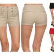 Solid Color Button Trimmed Zippered High Waist Faux Front & Back Hot Mini Shorts