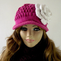 KNITTING HAT PATTERN - Newsboy Knitted Hat with Crochet flower - Crochet Flower Pattern