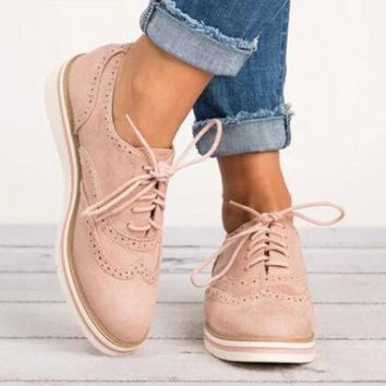 Classic England Style Autumn Shoes Women PU Leather Thick Soled Shoelace Lace Up Casual Fashion Brogue Flats Shoes Zapatos Mujer