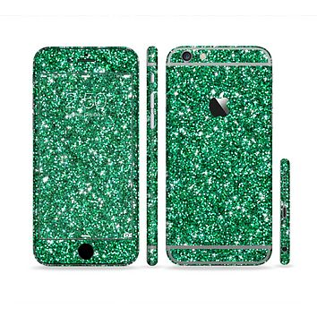 The Green Glitter Print Sectioned Skin Series for the Apple iPhone 6 Plus