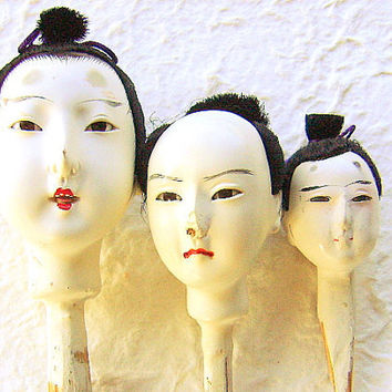 Vintage Japanese Doll Heads Hina Matsuri Man by vintagefromjapan