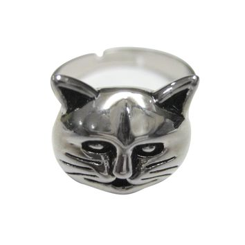 Silver Toned Cat Head Adjustable Size Fashion Ring