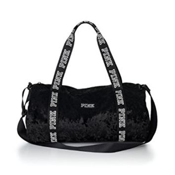 Victoria's Secret PINK Black Mini Velvet Duffle Tote Bag
