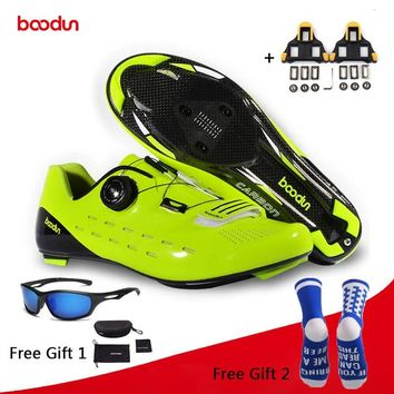 Boodun Riding Cycling Shoes Road Carbon Fiber Breathable Bicycle Shoes Athletic Racing Sneakers Bike Shoes Zapatillas Ciclismo