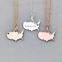 FREE SHIP • USA Necklace United States • America Necklace Patriotic •Gift Sterling Silver Charm Country State Charm Gift Charm Military Gift