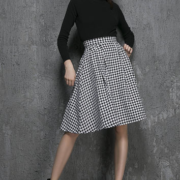 Midi Skirts-Midi Skirt-Midi Skirt with Pockets-Skirts-Full Midi Skirt-Circle Skirt-Skirt-Womens Skirts-Womens Clothing-Clothing-Wool-1342