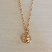 14K Gold filled Sand Dollar necklace/ circle/ beach jewelry / dainty / gift / mom / daughter