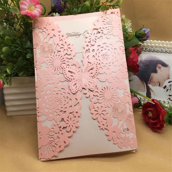 10pcs/set Party Invitation Card Romantic Decorative Cards Envelope Delicate Flower Cut Carved Pattern Wedding Invitations 20type