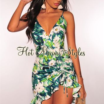 White Floral Green Palm Print Ruched Dress