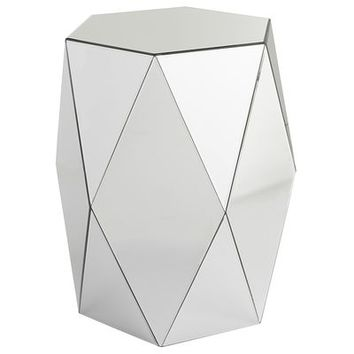 Miera Diamond Mirrored Drum Accent Table