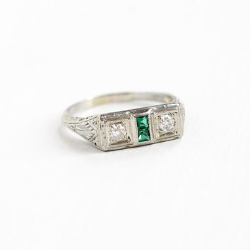 Sale - Antique 18K White Gold Diamond & Simulated Emerald Ring - Vintage Art Deco Size 7 Fine Filigree Engagement Bridal Wedding Jewelry