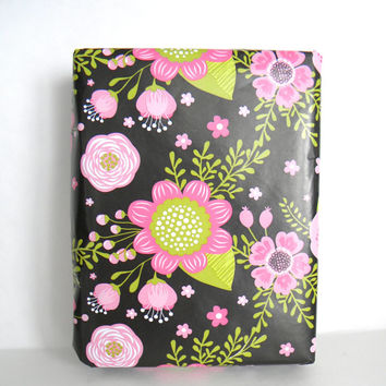 Floral Chalkboard Wrapping Paper, 10 ft roll, Blush Pink and Hot Pink Flowers, Green Leaves and Stems on Black, Wedding Gift Wrap